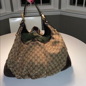 Large Gucci Jockey Hobo in Beige/Brown